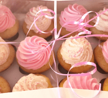 pink and white cupcakes delivered