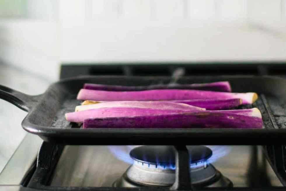 eggplant grilling on gas stove