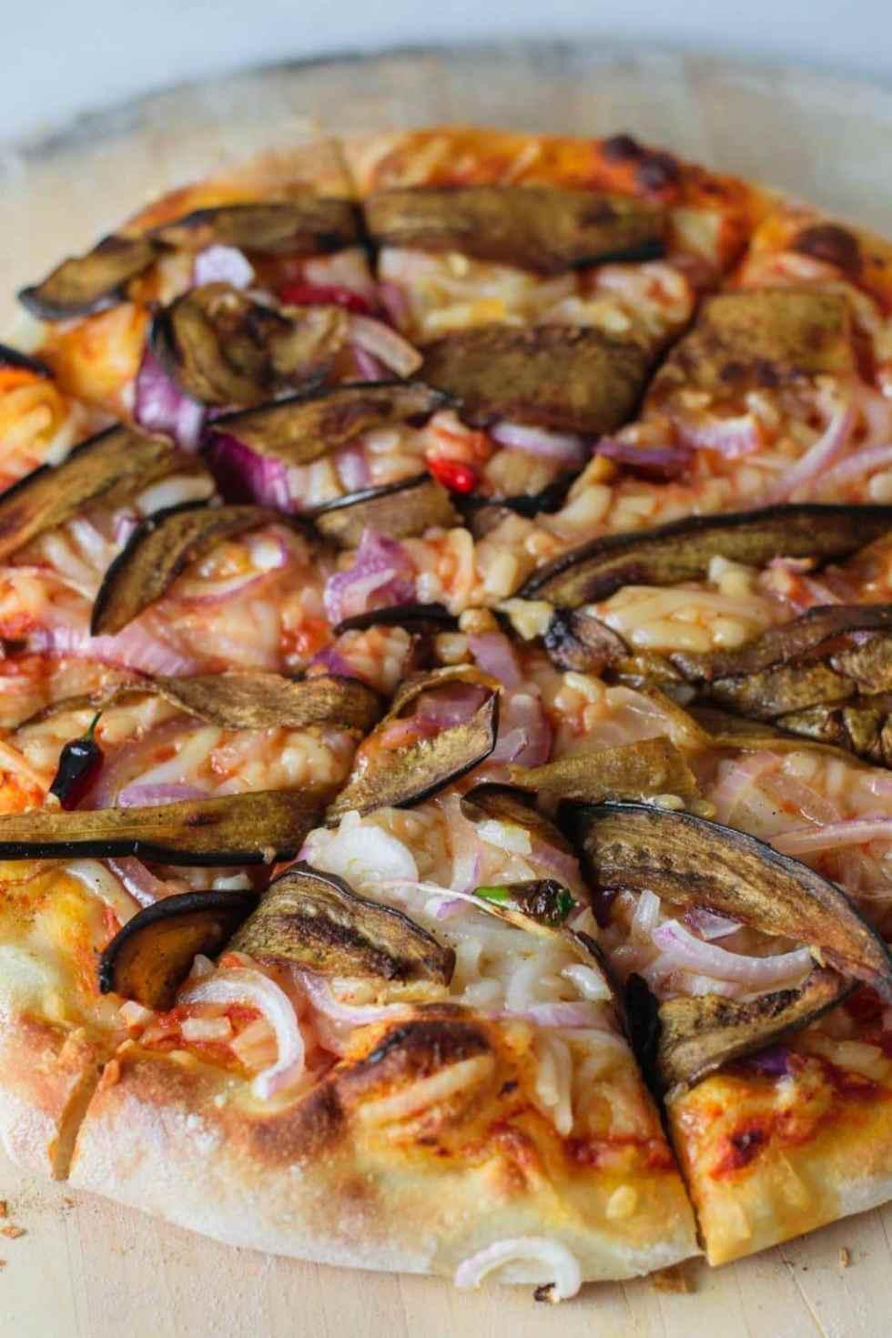 vegan curried eggplant pizza