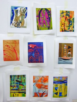 nine viscosity prints by students on a course