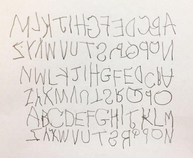 mirror writing alphabets