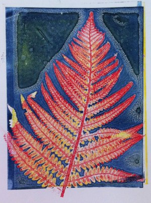 colourful fern mono print