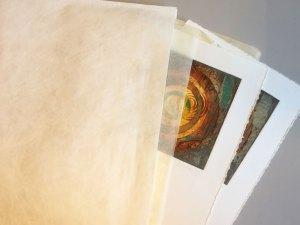 prints with tissue paper in tyvek folder