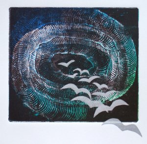 'Returning', print made from whisked tile cement plate