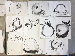 Ten charcoal sketches of a pear, each done in 1 minute