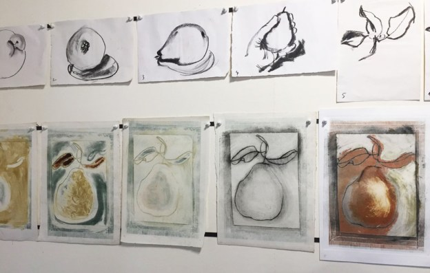 One minute charcoal pear drawings with mono prints