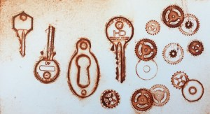 Intaglio print from embossed keys and cogs