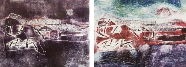 Two different prints from one collagraph plate