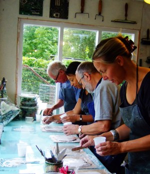 Students on a printmaking course in my studio