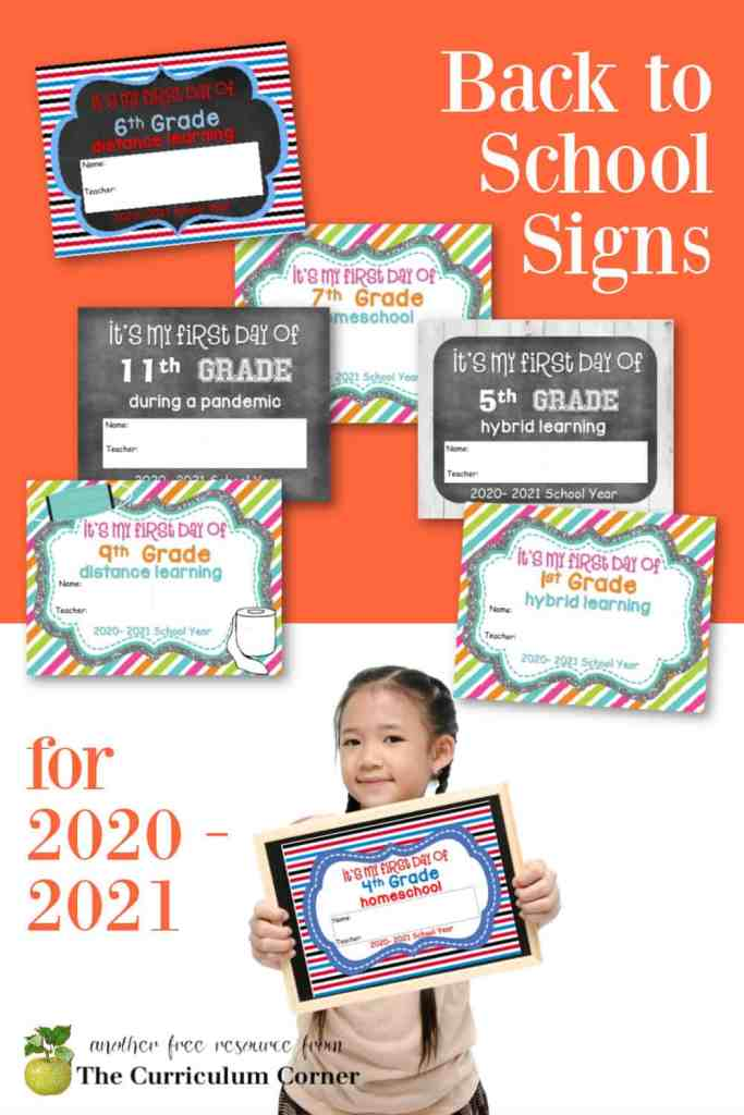 These first day of school signs are designed for heading back to school in the fall of 2020. Lots of free options for virtual, homeschool, hybrid & more!