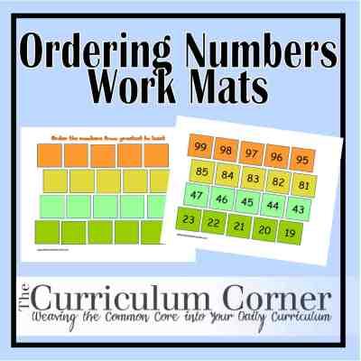 Ordering Numbers Work Mats