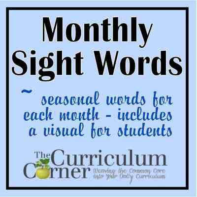 FREE monthly sight words