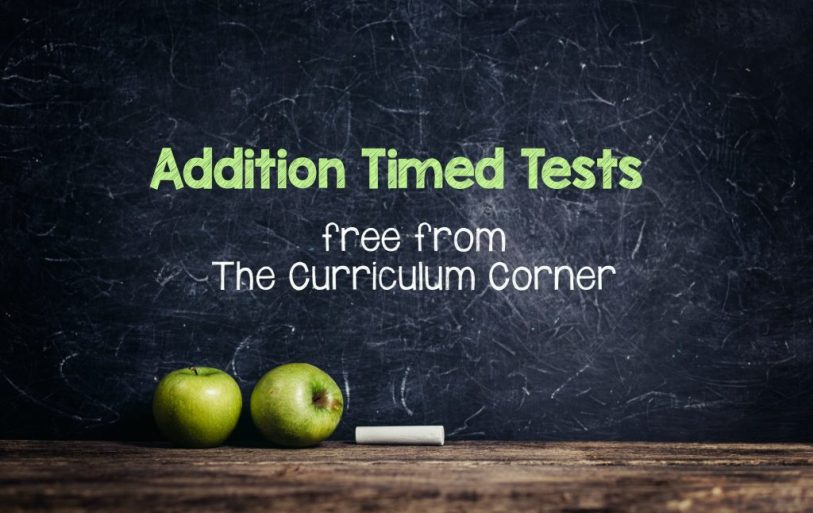 FREE Addition Timed Tests from The Curriculum Corner
