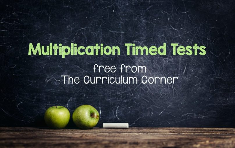 FREE Multiplication Timed Tests from The Curriculum Corner
