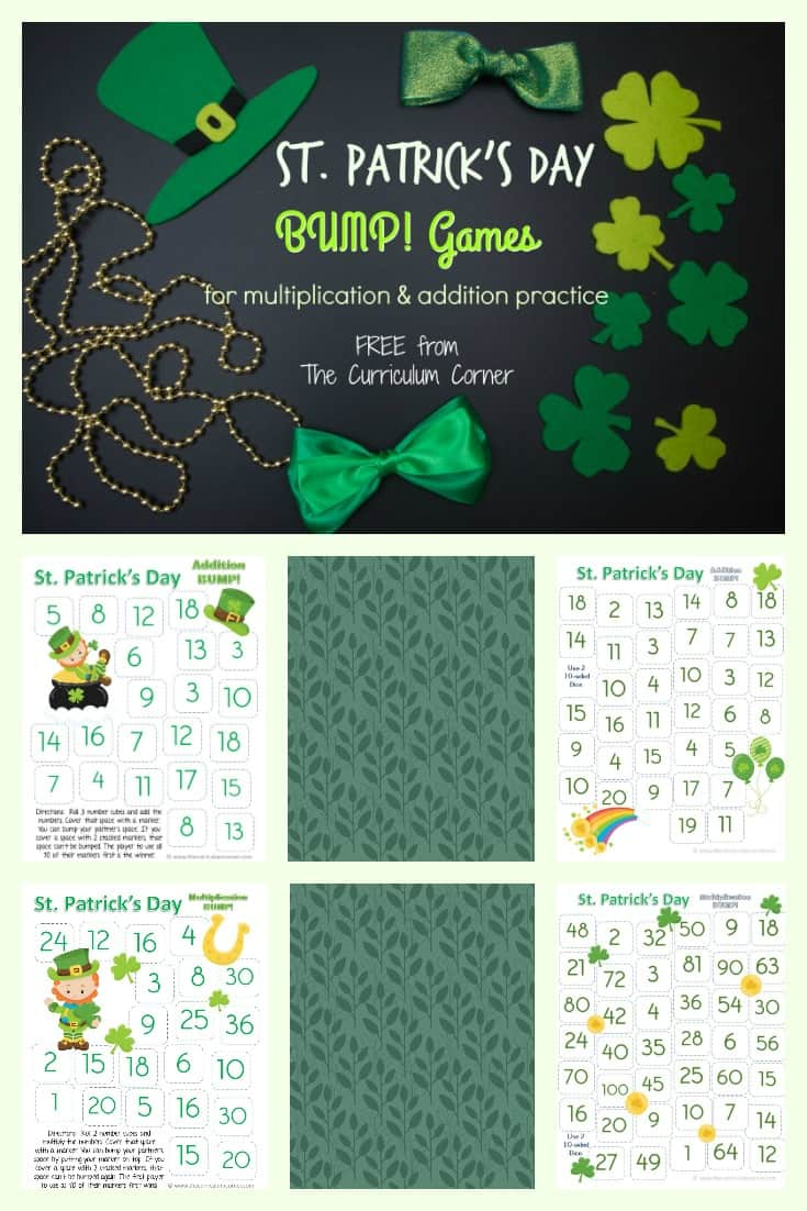 FREE St. Patrick's Day Bump! Game | multiplication facts, addition facts | The Curriculum Corner