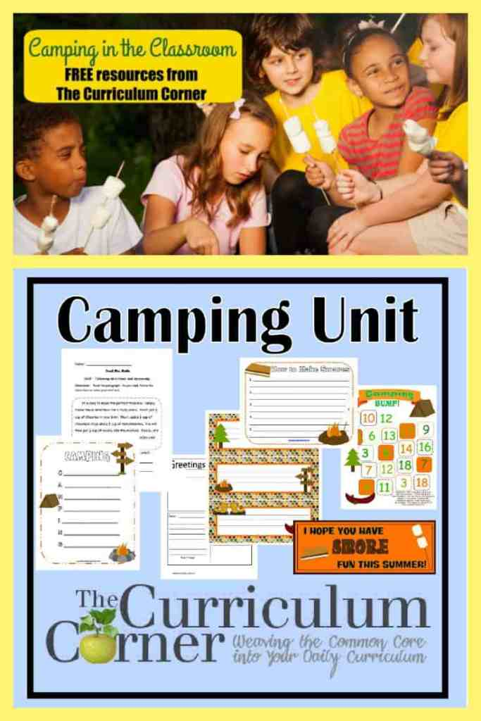 Camping Unit of Study FREE from The Curriculum Corner