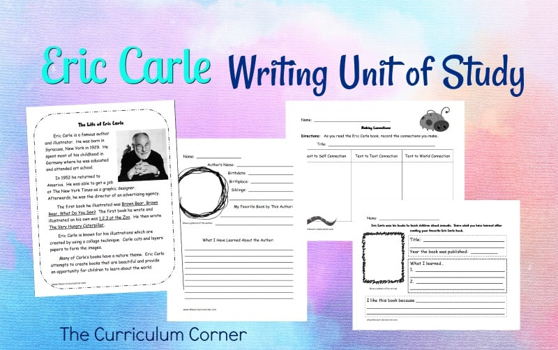 Eric Carle Lesson Plans: This free writing workshop unit of study focuses on using Eric Carle as a mentor author. Created by The Curriculum Corner