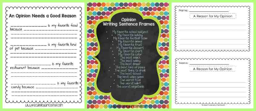 FREE Opinion Writing Unit of Study from The Curriculum Corner FREEBIE   blank books, mini-lesson & more   Transition Phrases