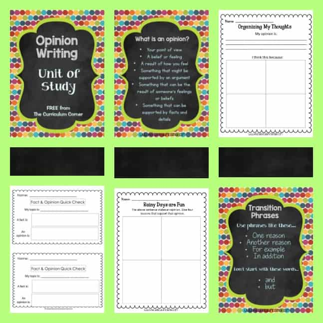 Opinion Writing Ideas & Resources - The Curriculum Corner 123