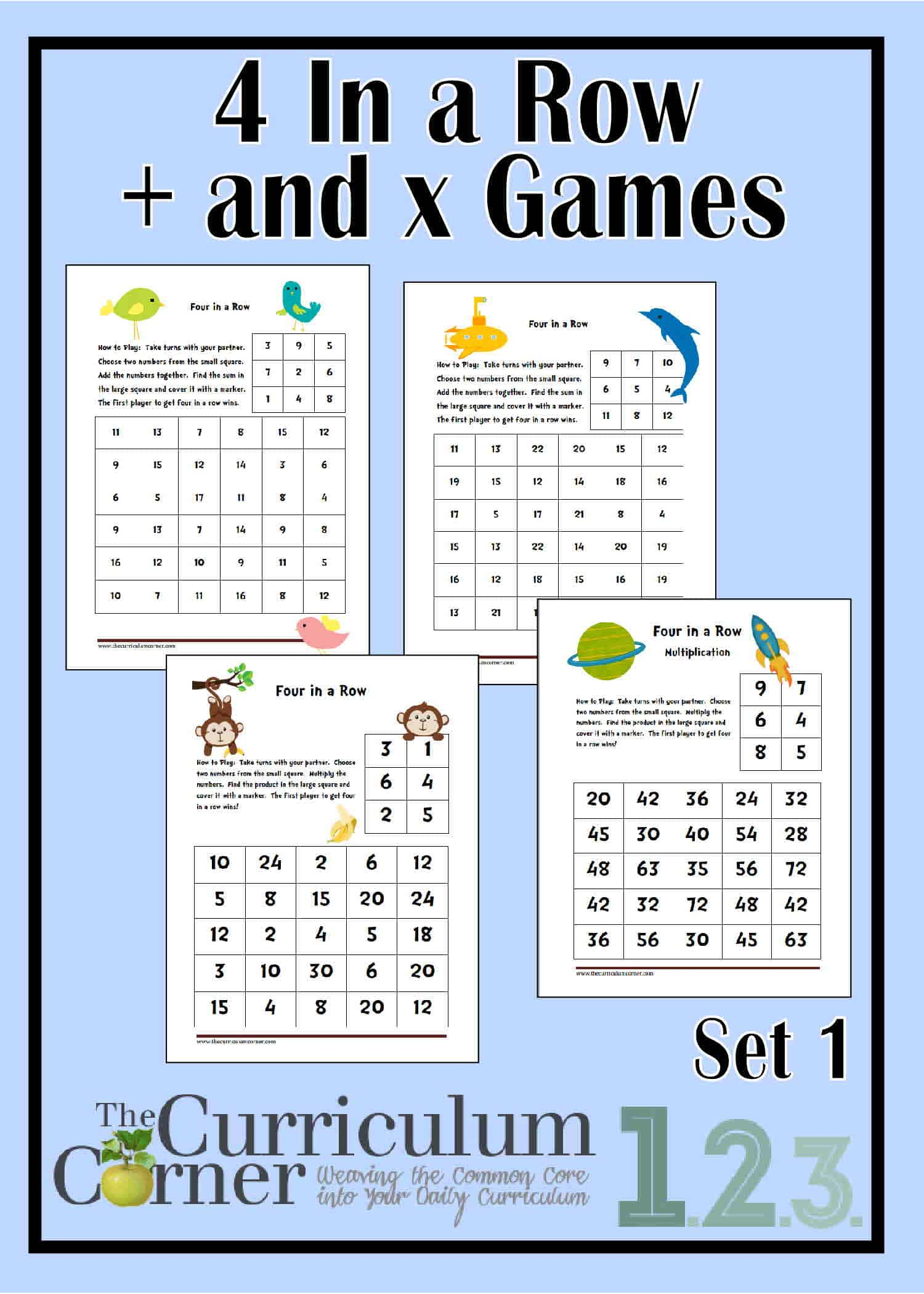4 In A Row Spring Addition Amp Multiplication Games