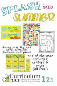 Splash into summer classroom activities, games, centers and more! by The Curriculum Corner