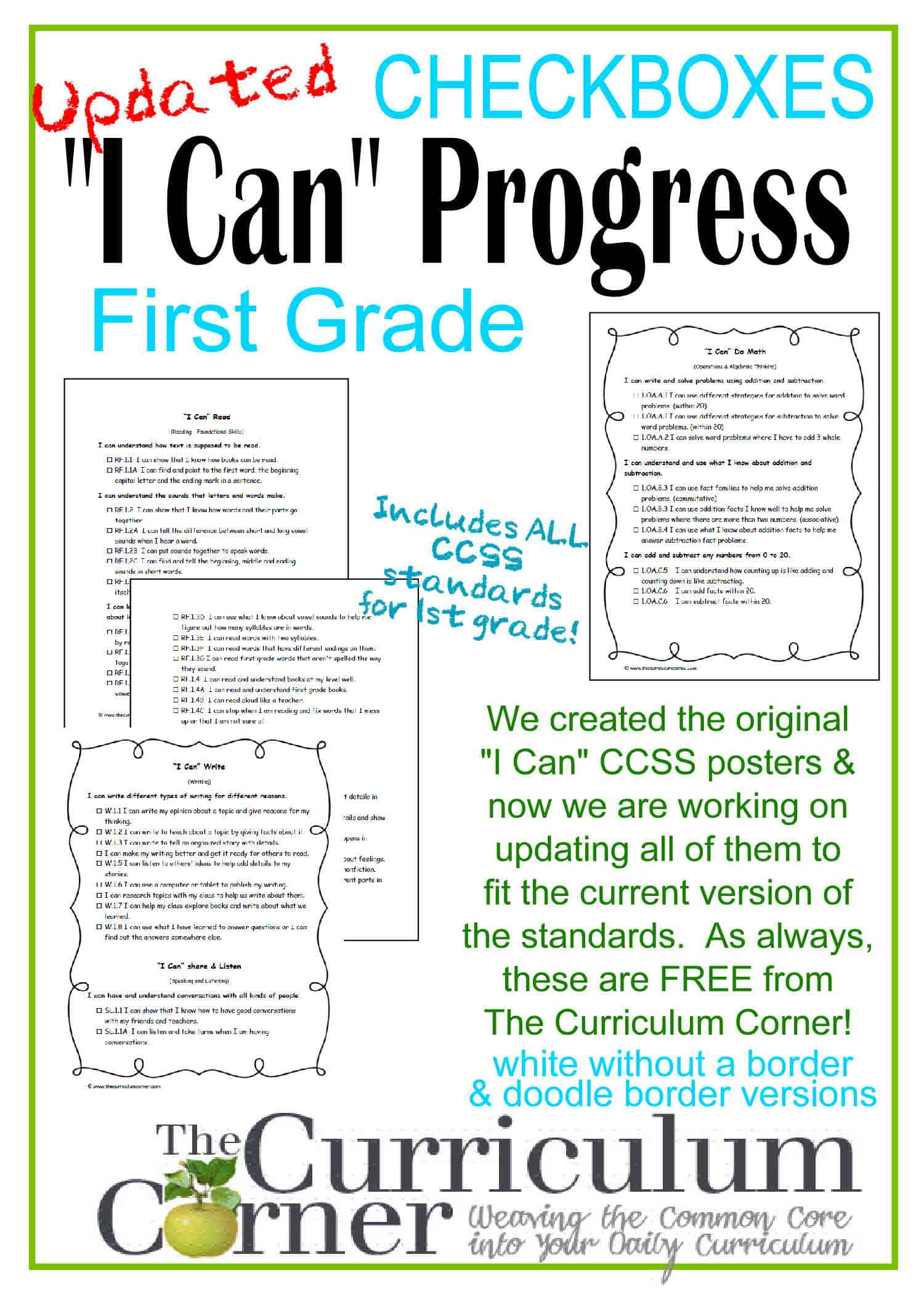 Updated 1st Grade I Can Ccss Statements Progress