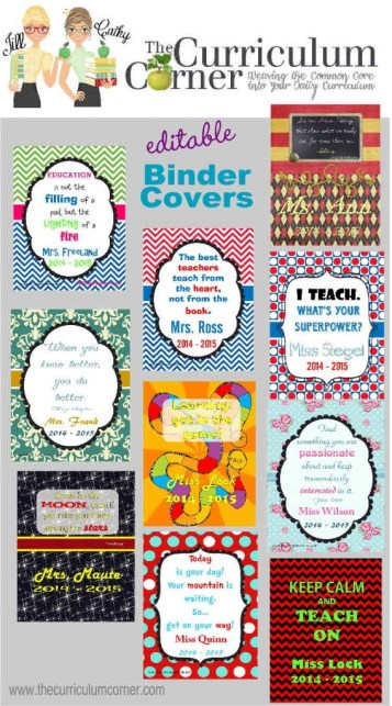 Free, editable binder covers from The Curriculum Corner | SO many styles!  | Share with all of your teacher friends!