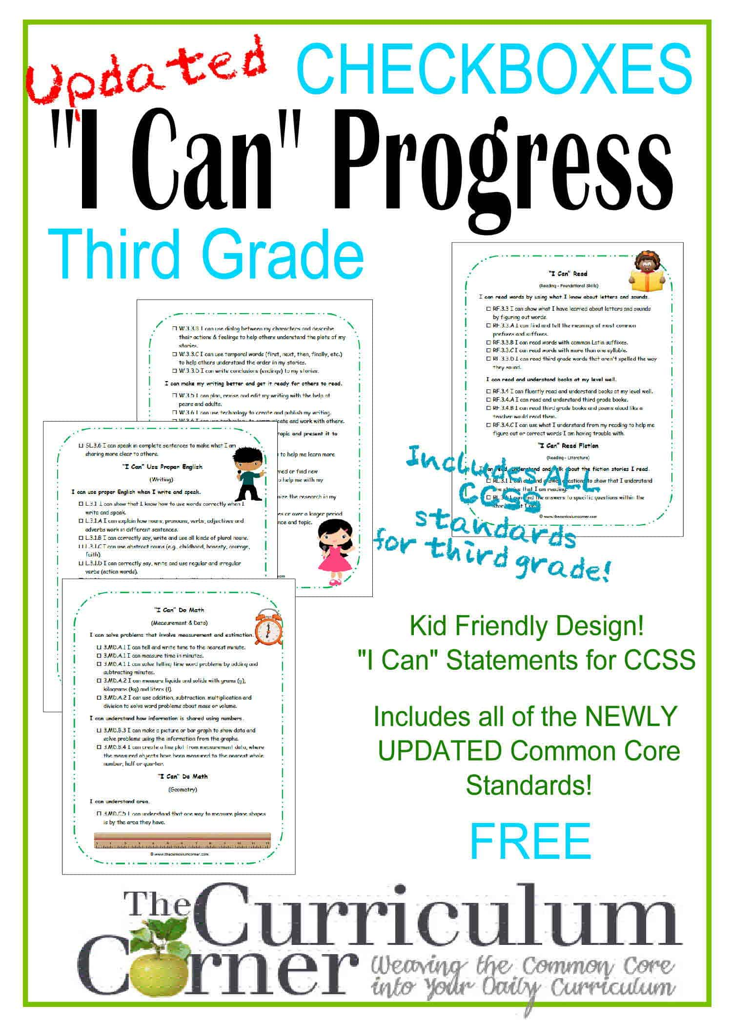 3rd Grade Kid Clip Art I Can Ccss Statement Progress