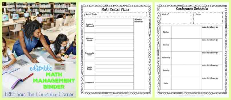 FREE Editable Math Management Binder from The Curriculum Corner | complete binder free