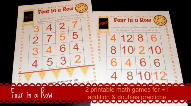 Free Four in a Row pizza themed math games www.thecurriculumcorner. #FoodMadeSimple #cbias