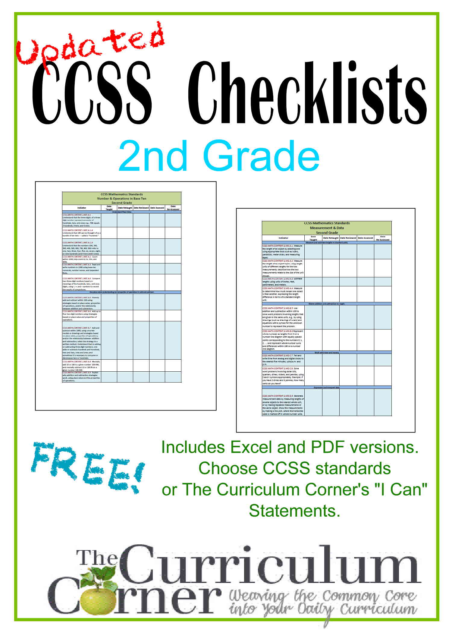 Updated 2nd Grade Ccss I Can Checklists