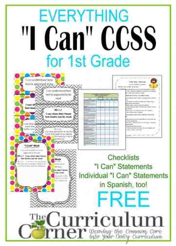 1st Grade I Can Statements FREE from www.thecurriculumcorner.com for 1st Grade | checklists | posters | Spanish | CCSS | Common Core | Individual Statements - different colors & layouts!