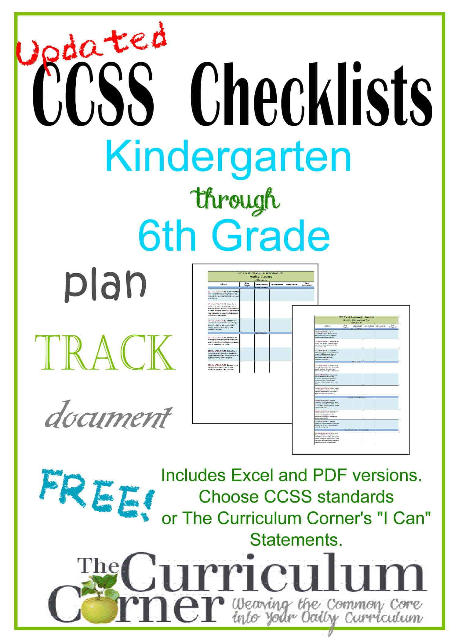 Updated Common Core \u0026 \I Can\ Checklists - The Curriculum Corner 123 [ 2100 x 1500 Pixel ]