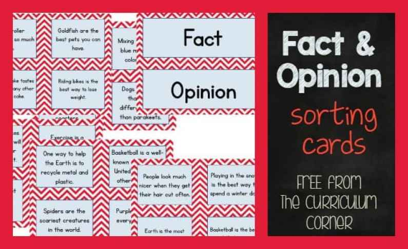 FREE! Fact & Opinion Center Sorting Activity FREEBIE from The Curriculum Corner