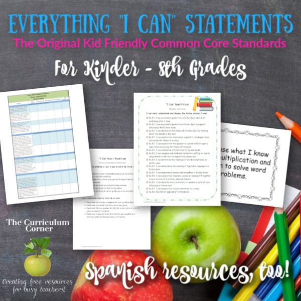Everything CCSS I Can For K 8 Grades The Curriculum