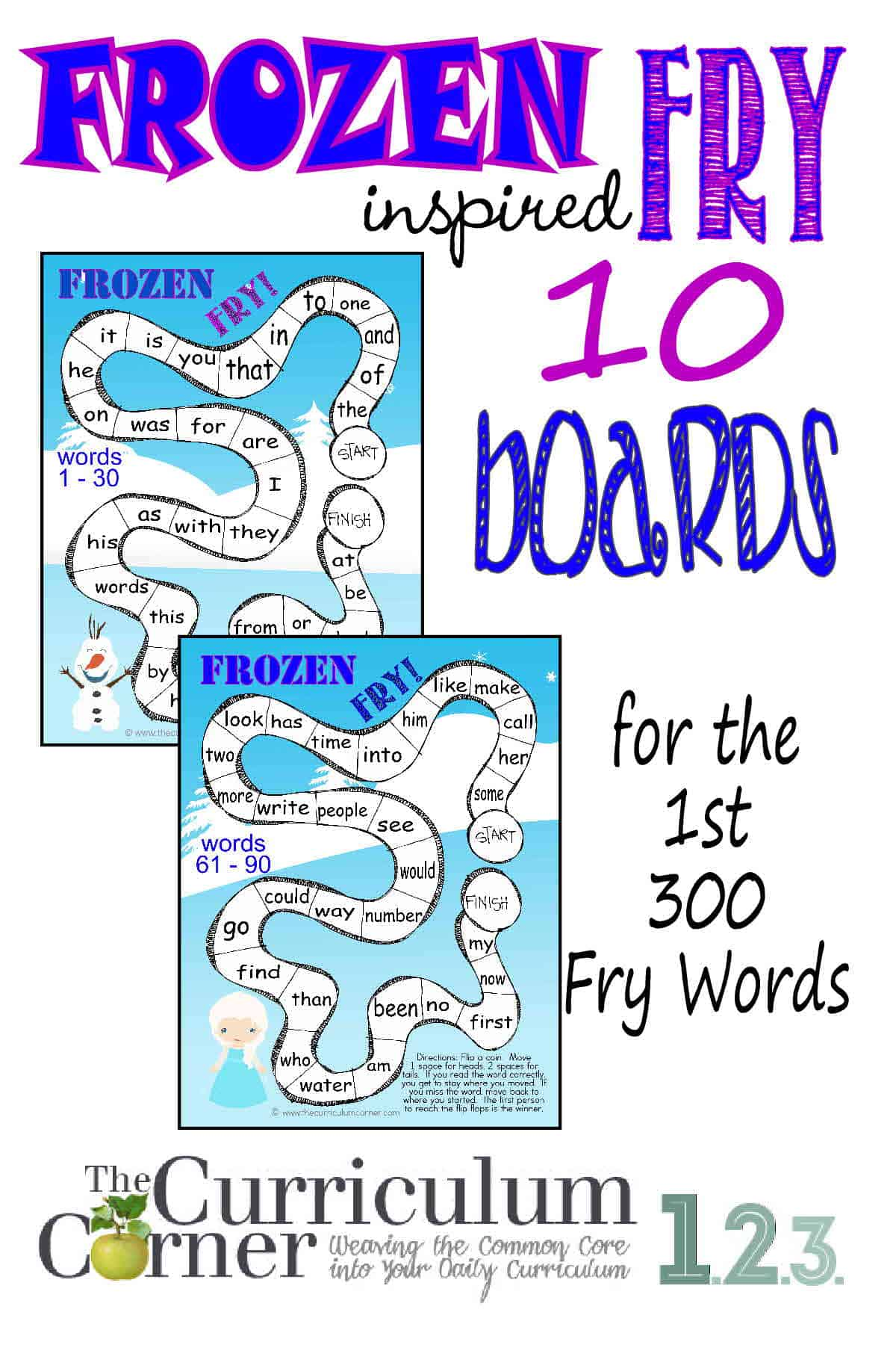 Worksheet Fry Sight Words frozen inspired fry word games the curriculum corner 123 for first 300 words sight practice free