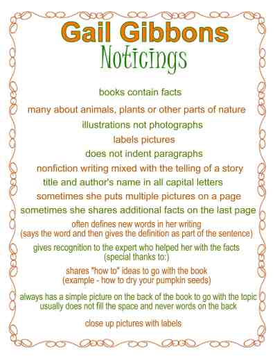 Gail Gibbons Noticings Anchor Chart free from The Curriculum Corner