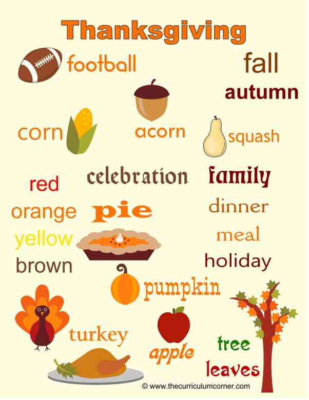 Thanksgiving Word Wall FREE from The Curriculum Corner | writing workshop