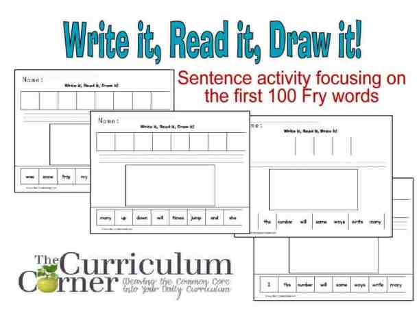 Write It, Read It, Draw It focuses on the first 100 Fry words - great reading / writing activity from The Curriculum Corner