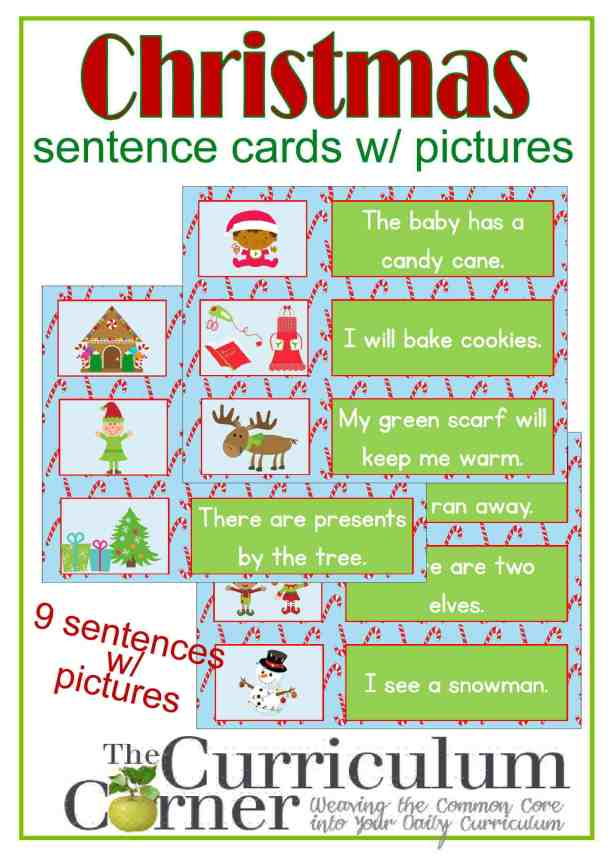Christmas Sentence Cards with Pictures for Beginning Readers FREE from The Curriculum Corner