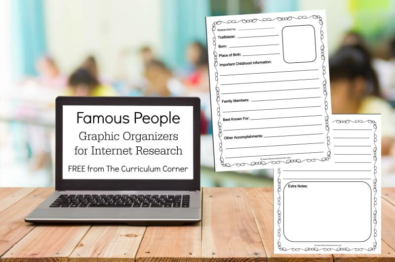 These famous people graphic organizers can be used to help your students practice their internet research skills.