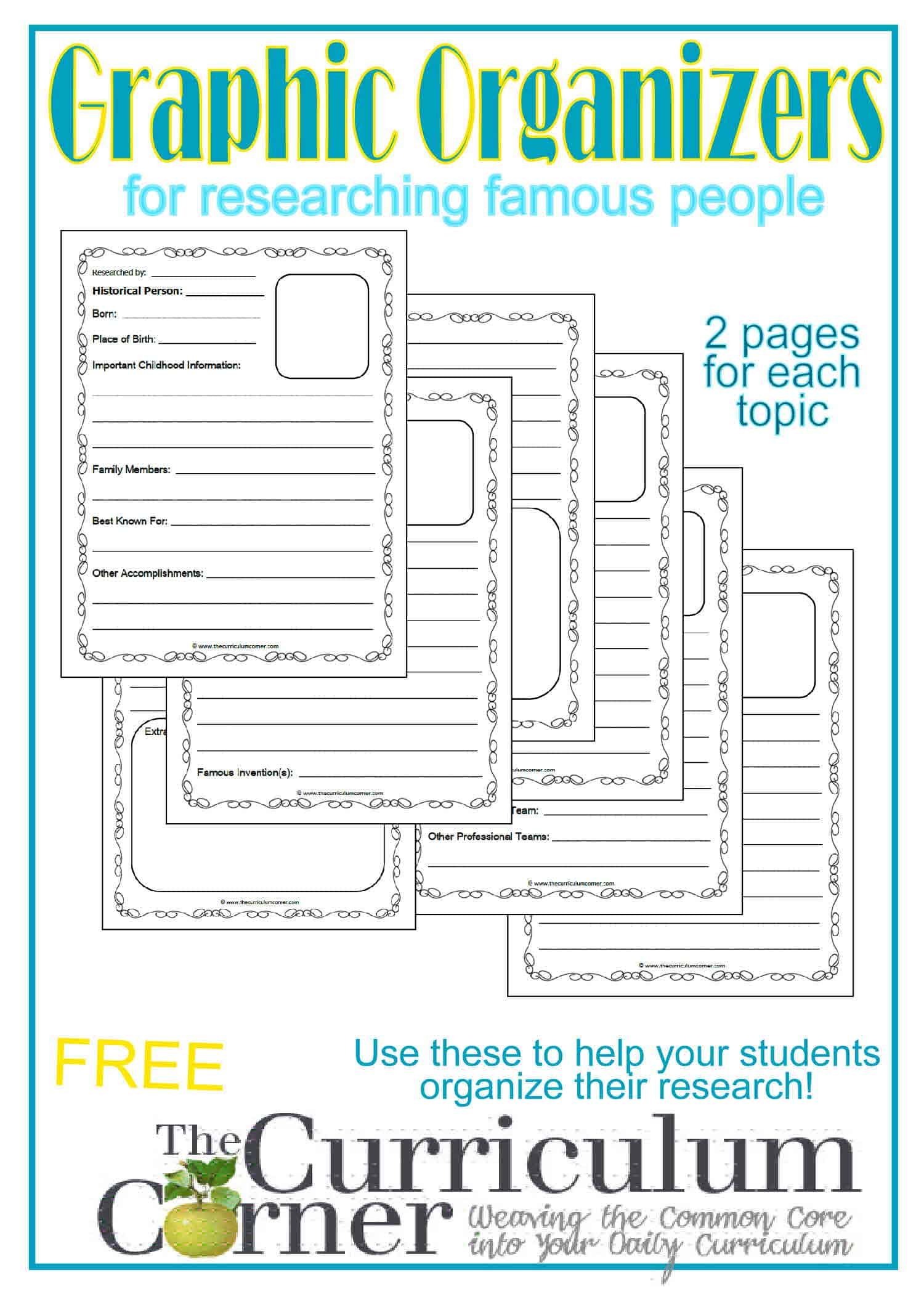 graphic regarding Biography Graphic Organizer Printable called Well known Persons Study Image Organizers - The Curriculum