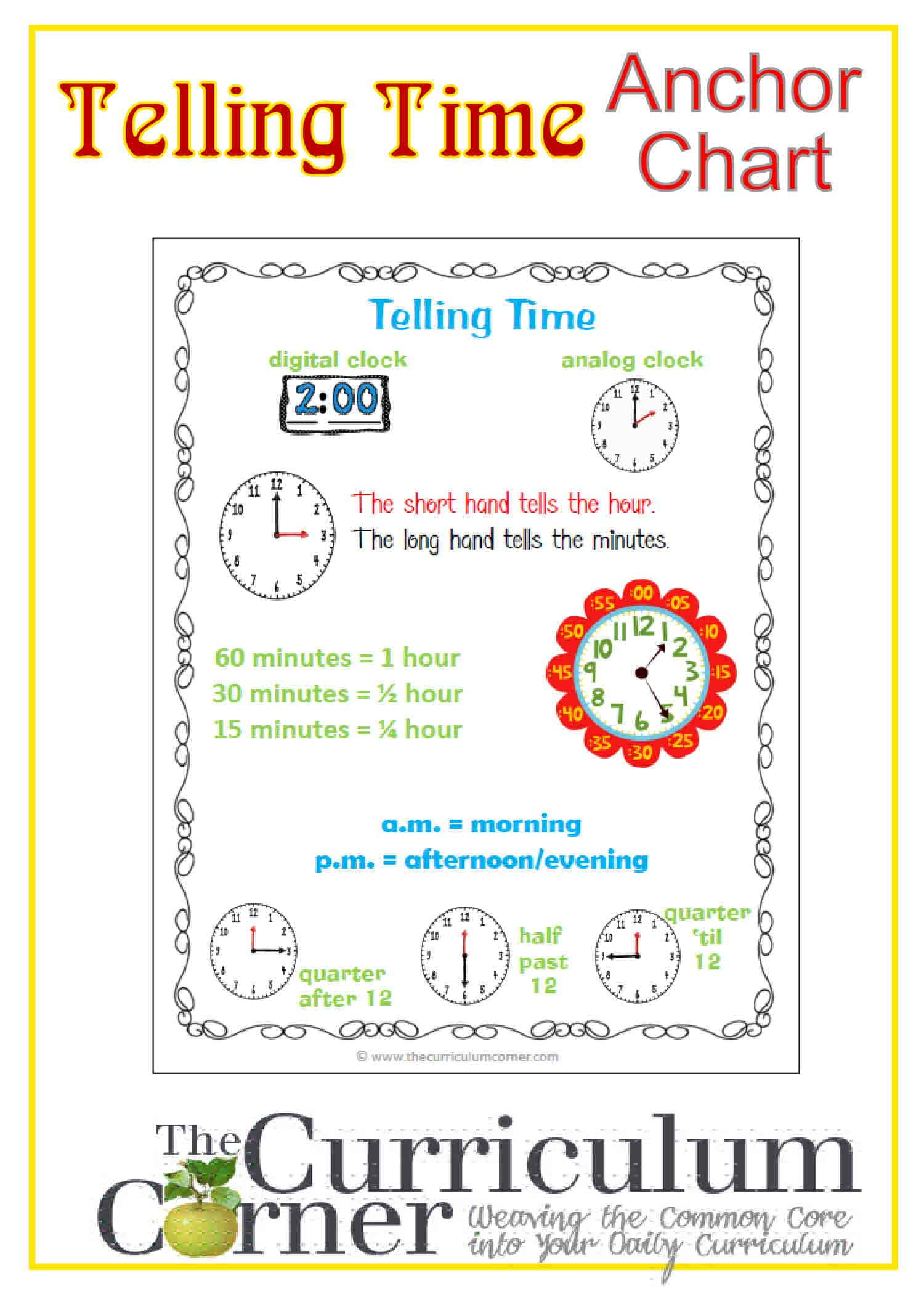 Telling Time Anchor Chart - The Curriculum Corner 123 [ 2100 x 1500 Pixel ]