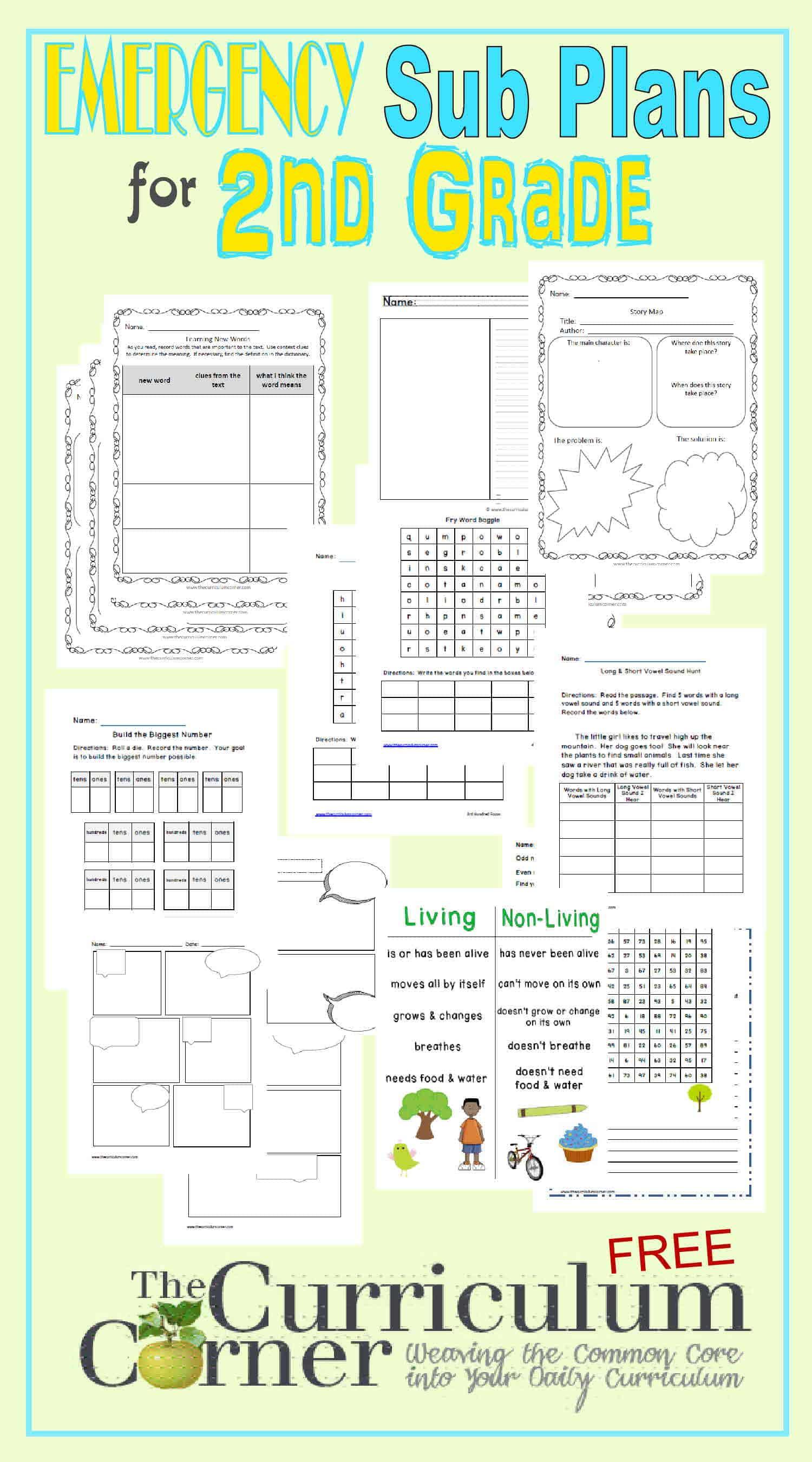 hight resolution of 2nd Grade Emergency Sub Plans - The Curriculum Corner 123