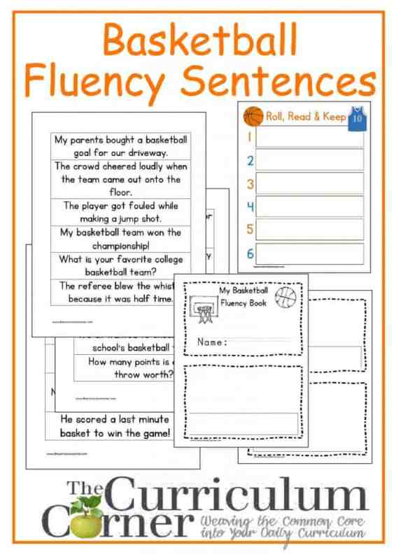 Basketball Fluency Phrases free from The Curriculum Corner with booklet and Roll, Read & Keep board game