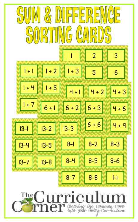 Sum & Difference Sorting Cards FREE from The Curriculum Corner