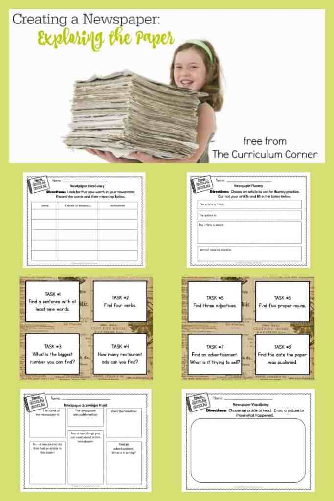 FREE Exploring Newspapers from The Curriculum Corner