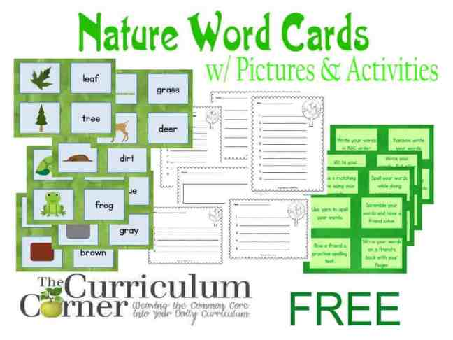 Nature Word Cards w/ Pictures and Activities Includes Recording Pages FREE from The Curriculum Corner | Word Work | Daily 5 | Literacy Centers