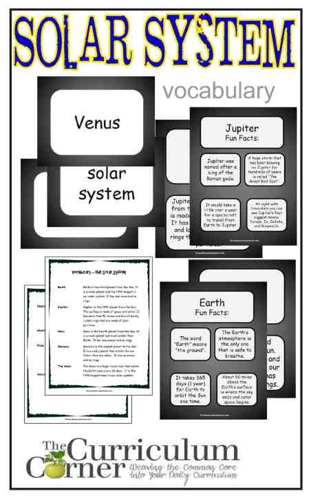 Solar System Vocabulary Resources from The Curriculum Corner FREE