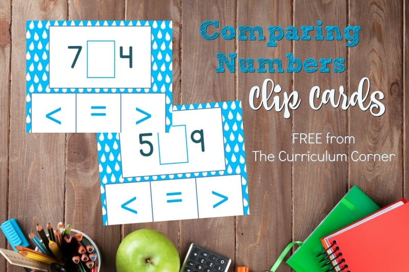 These free comparing numbers clip cards are designed for an interactive math center for young math students working on number sense skills.